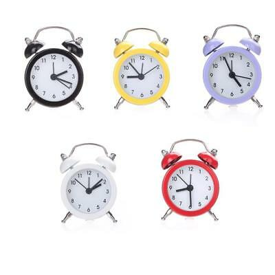 Modern New Mini Desk Twin Bell Silent Alloy Stainless Metal Alarm Clock Bedroom