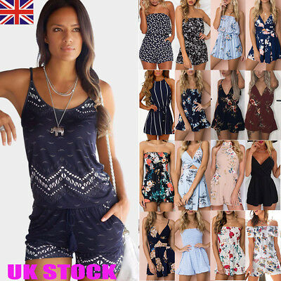 UK Womens Holiday Mini Playsuit Ladies Jumpsuit Summer Beach Shorts Mini Dress
