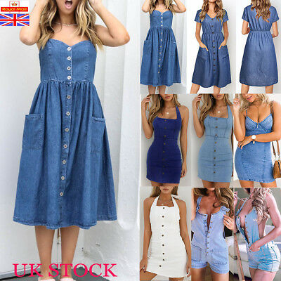 UK Womens Summer Denim Dress Ladies Jeans Party Career Casual Midi Dress Shorts