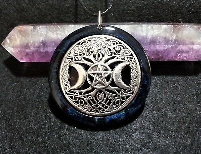 Pentacle Triple Moon Tree of Life Pendant, Wiccan, Pagan, Spiritual, Witchcraft