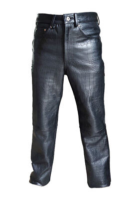 Mens Real Black Alligator Crocodile Print Leather 501 Style Jeans Pant Trouser