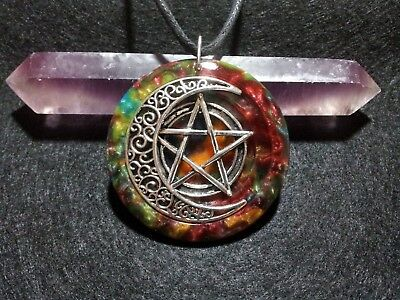 Pentacle Moon Pendant,pagan,wiccan jewelry,spiritual,symbolic,witchcraft,unisex
