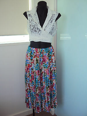 Vintage pleated floral skirt with original handmade lace white top, sz 14, S-M-L