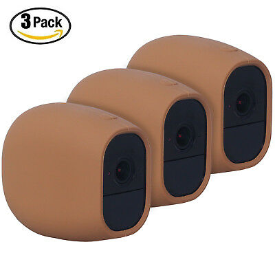 1x 2x 3x Outdoor/Indoor Silicone Skin Case Cover for Arlo Pro/Arlo Pro 2 (Brown)