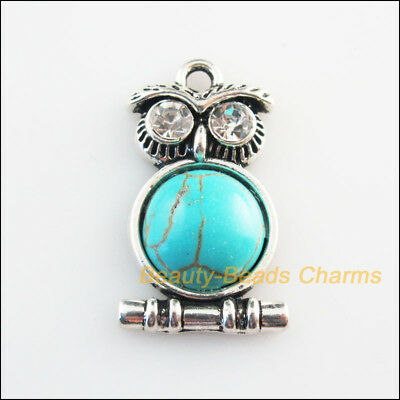 4 New Charms Animal Owl Crystal Turquoise Tibetan Silver Pendants 16.5x28.5mm