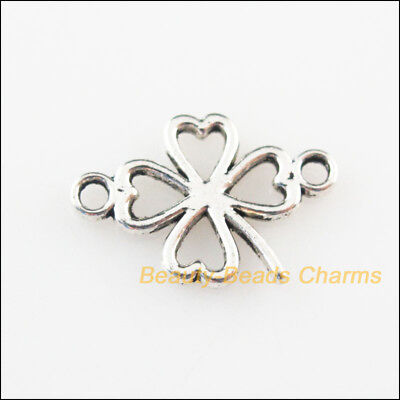 12 New Connectors Clover Flowers Tibetan Silver Tone Charms 11x16.5mm