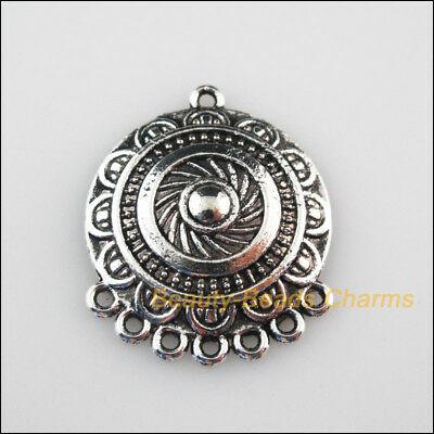 3 New Charms Round Flower Tibetan Silver Tone Pendants Connectors 25x31mm