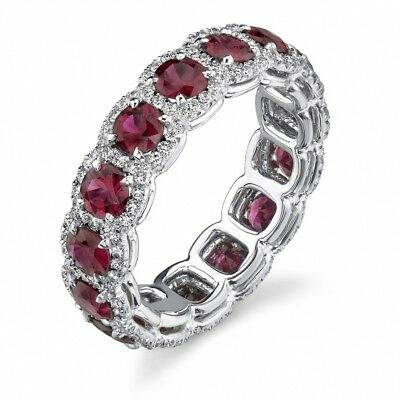2Pcs Stainless Steel Crystal Ruby Fashion Women Wedding Party Jewelry Gift Ring