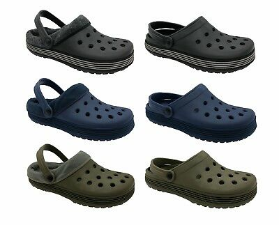 Mens Crocs Style Garden Shoes Garden Fishing Beach Wipe Clean Lined Removable