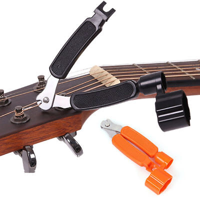 Functional Guitar String Peg Winder Cutter Clippers Bridge Pin Puller Bass Accs