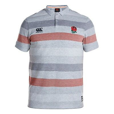 Adults Small England Rugby Jacqard Pique Polo - Pale Grey Marl M107