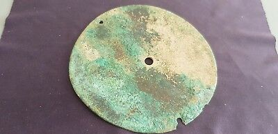 Celtic BC ancient bronze breast armour round plate 65g V. rare hoard find L114r