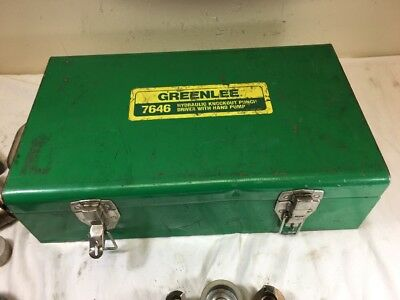 """Greenlee Hydraulic Knockout Punch Driver Set no.7646 3/4"""" - 2-1/2"""" In Metal Case"""