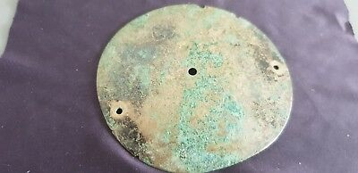 Celtic BC ancient bronze breast armour round plate 43g V. rare hoard find L114t