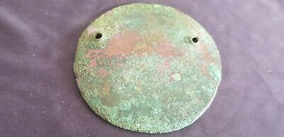 Celtic BC ancient bronze breast armour round plate 39g V. rare hoard find L114u