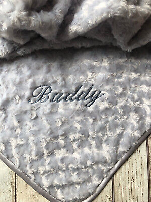Personalised Luxury Baby Blanket Grey Embroidered Boy Girl New Baby Birth Gift