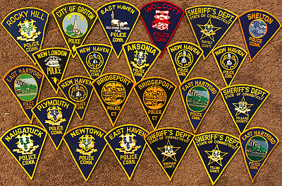 "Connecticut CT State Police Sheriff ""Pie Shaped""- 24 Patch Lot"