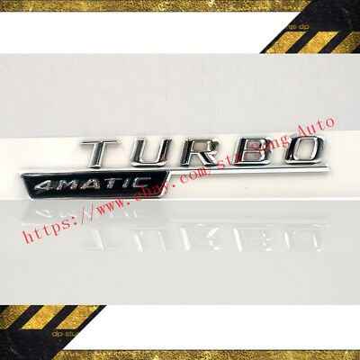 2X Chrome 4Matic Turbo Badge For Mercedes Benz A45 Gla45 C43 C63 E63 Gle Glc Ml