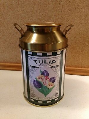 Decorative Floral Design Peony Tulip Empty Metal Container