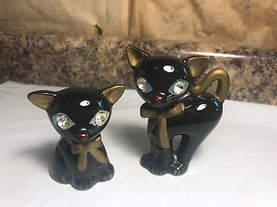 Vintage Lefton Black Cat with Jeweled Eyes Salt & Pepper Shakers