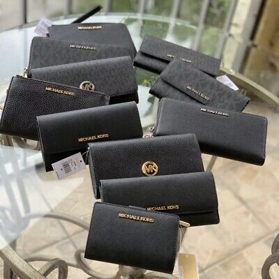 MICHAEL KORS Black Wallet Wristlets Phone Flat Trifold Bifold Double Zip Choose
