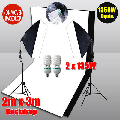 Photography 2 Backdrops+Stand Set Photo Studio Softbox Lighting Video Light Kit