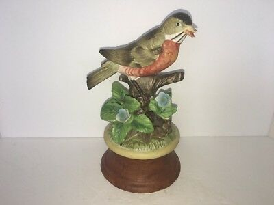 "vintage robin enesco music box 7 1/2"" tall"