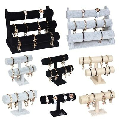 3 Colors Velvet Jewelry Rack Bracelet Necklace Stand Organizer Holder Display