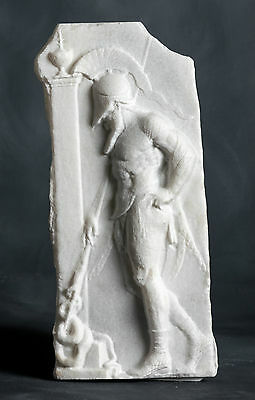 MARBLE relief of an Ancient warrior carved Greek marble artist sculpture bust