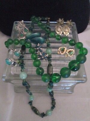 Vintage Shades of Green Jewelry Lot Necklaces Earrings Rhinestones Lucite NICE