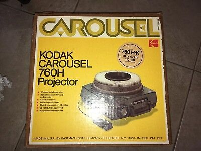 Kodak Carousel 760H 35mm Projector w/Box, Tray, Remote & Manual ~ Excellent! NR!