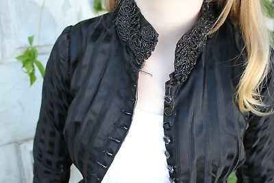 Victorian Antique black French bodice woman's corseted jacket beadwork silky