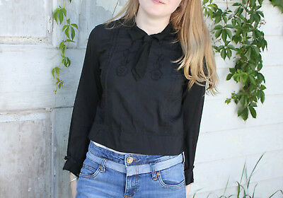 Antique woman's blouse late 1800's Victorian French black silk and cotton shirt