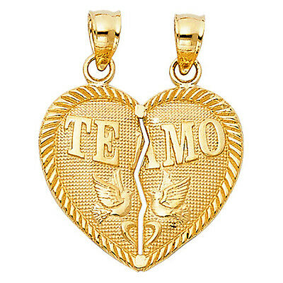 Te Amo Broken Heart Pendant Two Tone 14k Yellow Gold - Te Amo Broken Heart Charm