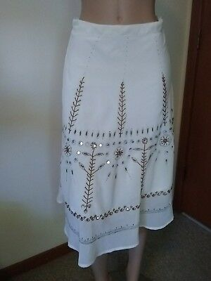 2 Hip By Wrapper Sheer Below Knee Multi-Colored Jeweled Skirt Size 14