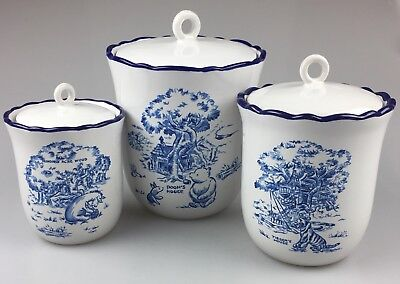 Set of 3 Disney WINNIE THE POOH Ceramic Stoneware Countertop Canister Blue White