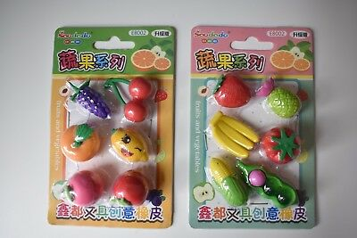 12 Fruit and Vegetable Erasers (2 packs of 6 erasers) BRAND NEW