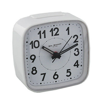 White Compact Bedside or Travel Alarm Clock Loud No Ticking Silent Sweeper