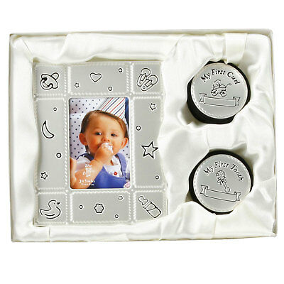 3 PC First Tooth 1st Curl Keepsake Boxes Photo Frame Birth Christening Gift Set