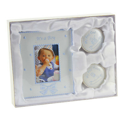 Baby Boys Christening Gifts Set Keepsake My First Curl Tooth and Photo Frame