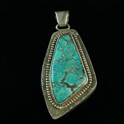 Huge Heavy double sided Royston turquoise Man in Maze Navajo pendant SS .925