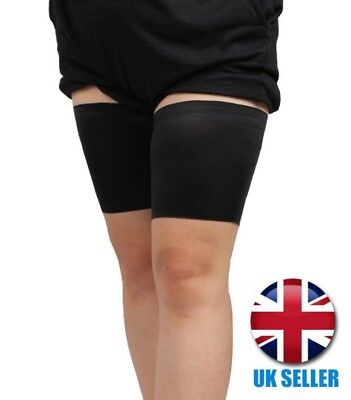 Comfortable Non-Slip Pair of Black Anti Chafing Thigh Bands for Running Sports