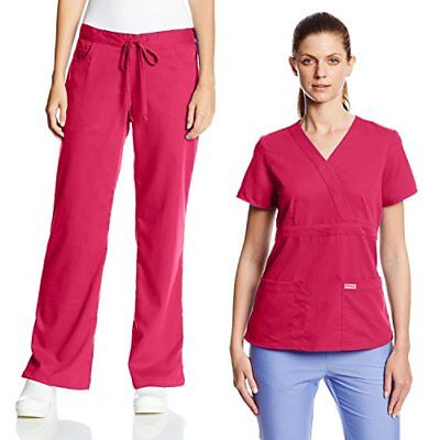 Grey's Anatomy Scrubs Set, Mock Wrap Scrub Top & Elastic Scrub Pants