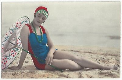 1920 French Risque Hand Tinted REAL PHOTO - Deco Girl in Bathing Suit