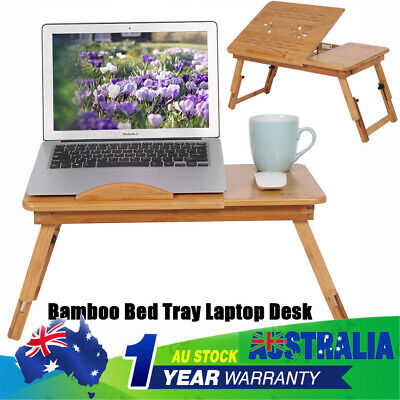 Foldable Wooden Bamboo Bed Tray Breakfast Laptop Desk Tea Serving Table Stand