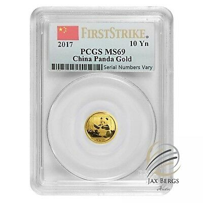 2017 1 Gram Chinese Gold Panda 10 Yuan PCGS MS 69 First Strike Flag Label