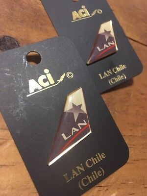Airline Tail Lapel Pin New Never Used Lan Chile Set Of 2