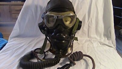 WW2 RAF Leather Flight Helmet with Oxygen Mask & Goggles - AUTHENTIC / RARE