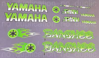 Banshee Decals GREEN Full Color Stickers Graphics 14pc ATV QUAD flames