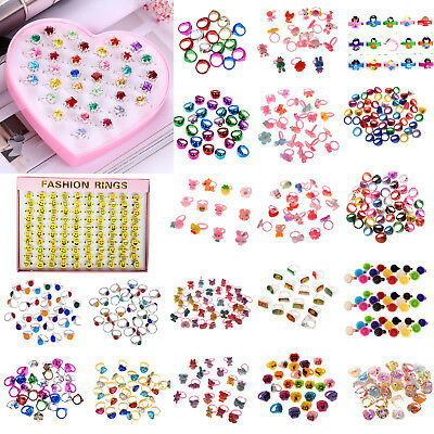 10Pcs New Mixed Lots Cartoon Children Kids Resin Lucite Rings Jewelry Wholesale